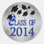 Clase azul de los gorras de la graduación del vuel