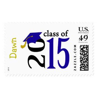 Clase azul de los sellos 2015 de la graduación