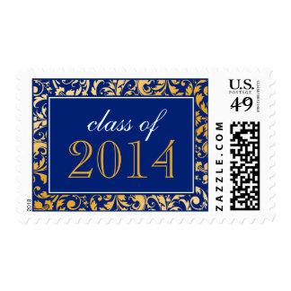 Clase azul del damasco del remolino del oro de la sellos