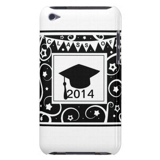 Clase blanco y negro de graduación de encargo del  barely there iPod protectores