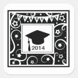 Clase blanco y negro de graduación de encargo del  pegatina cuadradas personalizada