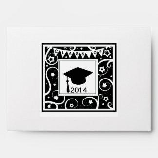Clase blanco y negro de graduación de encargo del  sobres