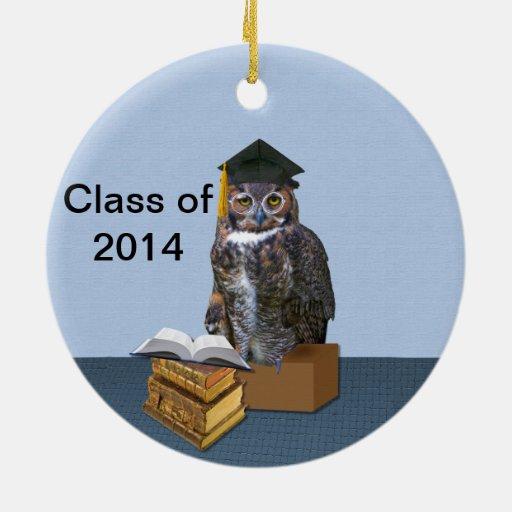 Clase chistosa del búho 2014 de la graduación ornamentos de navidad