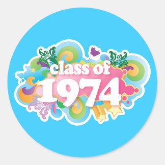 Clase de 1974 etiquetas redondas