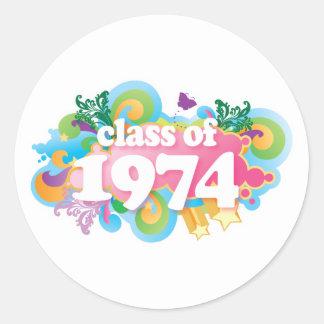 Clase de 1974 pegatina redonda