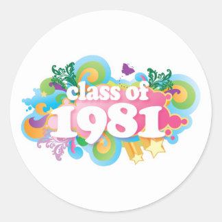 Clase de 1981 pegatina redonda