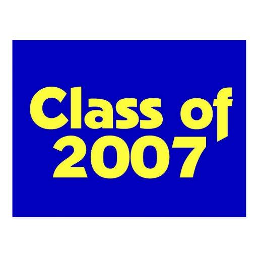 Clase de 2007 azules y amarillos postal