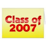 Clase de 2007 rojos y amarillos tarjetón