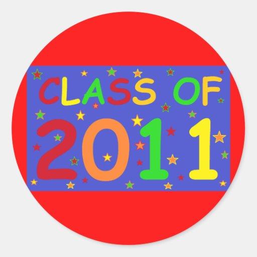 Clase de 2011 camisetas y regalos coloridos pegatina redonda