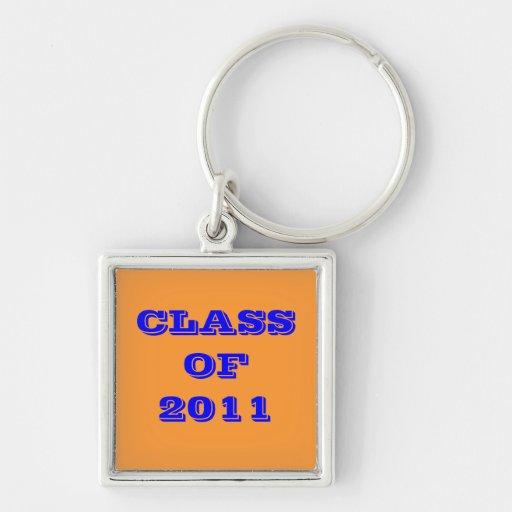 CLASE DE 2011 LLAVERO CUADRADO PLATEADO