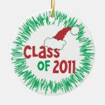 Clase de 2011 navidad - frente y parte posterior ornamento para arbol de navidad