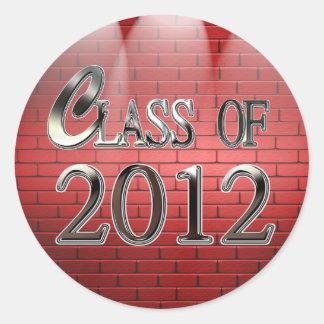 Clase de 2012 en pegatinas rojos de la graduación
