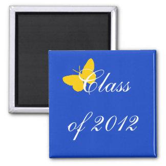 Clase de 2012 - mariposa del azul y del oro imán cuadrado