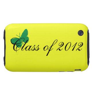 Clase de 2012 - mariposa verde y amarilla tough iPhone 3 fundas