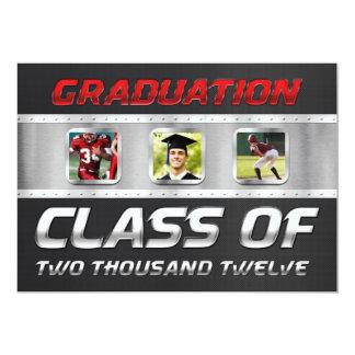 """Clase de 2012 negros y de graduación roja del invitación 5"""" x 7"""""""