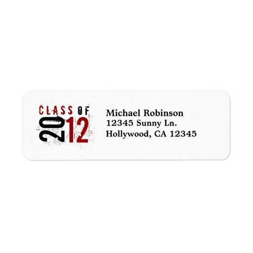 Clase de 2012 rojos/de etiquetas de devolución neg etiqueta de remite