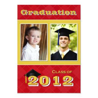 """Clase de 2012 rojos y de graduación de Argyle del Invitación 5"""" X 7"""""""