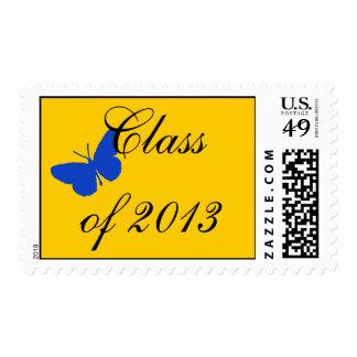 Clase de 2013 - mariposa del azul y del oro sello