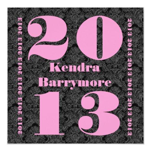 """Clase de 2013 o cuaesquiera negros V2 del rosa de Invitación 5.25"""" X 5.25"""""""