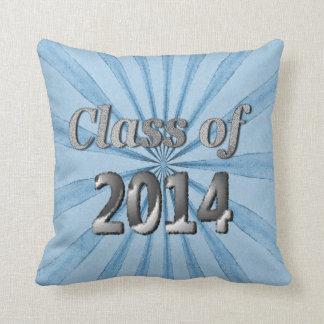 Clase de 2014 azules y de plata almohada