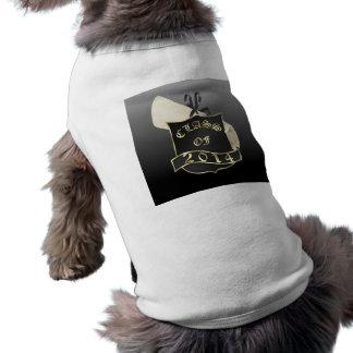 Clase de 2014 escudo y diploma playera sin mangas para perro