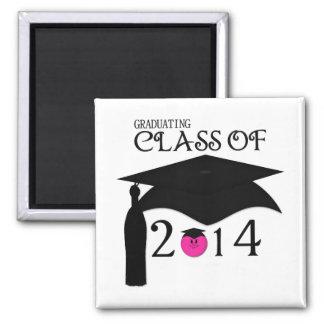 Clase de 2014 imán sonriente rosado de la graduac