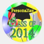 Clase de 2014 pegatinas coloridos de los globos etiqueta redonda