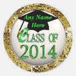 Clase de 2014 pegatinas del graduado de las lentej