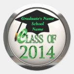 Clase de 2014 pegatinas verdes de la graduación
