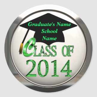 Clase de 2014 pegatinas verdes de la graduación etiqueta redonda