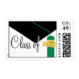 Clase de 2015 (casquillo y borla verdes de la estampillas