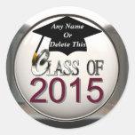 Clase de 2015 marrón y de pegatinas de plata de la pegatina redonda