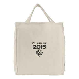 Clase de 2015 y su bolso bordado iniciales bolsa de tela bordada