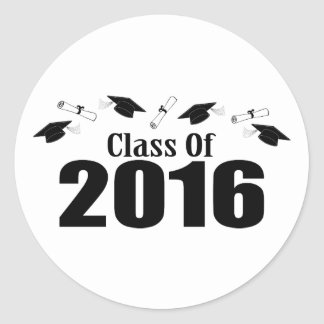 Clase de 2016 casquillos y diplomas (negro) pegatina redonda