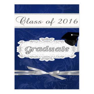 Clase de 2016, graduado, casquillo en la bandera postales