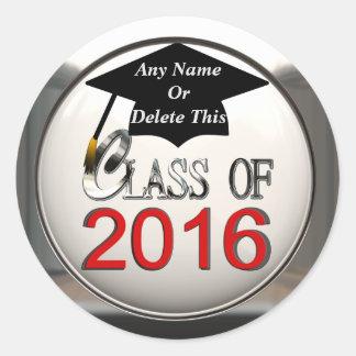 Clase de 2016 rojos y de pegatinas de plata de la pegatina redonda