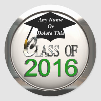 Clase de 2016 verdes y de pegatinas de plata de la pegatina redonda