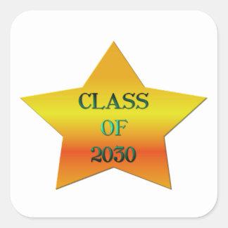 Clase de 2030 pegatina cuadrada