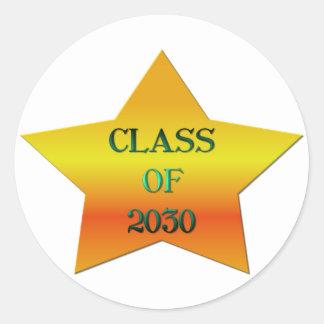 Clase de 2030 pegatina redonda