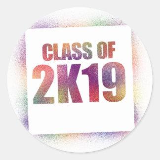 clase de 2k19, clase de 2019 pegatina redonda