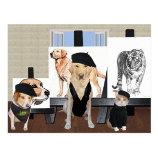 Clase de arte divertida adaptable del mascota tarjetas postales