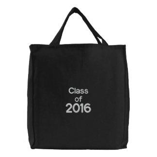 Clase de blanco bordado 2016 personalizados del bolsas