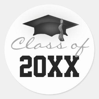 Clase de casquillo de la graduación 20XX Pegatina Redonda