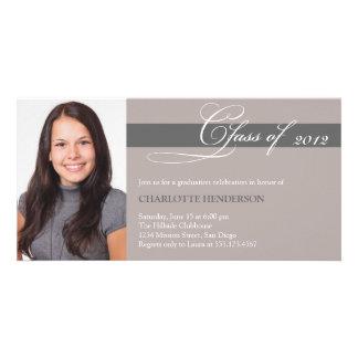 Clase de color topo gris de la escritura de invita tarjeta personal con foto