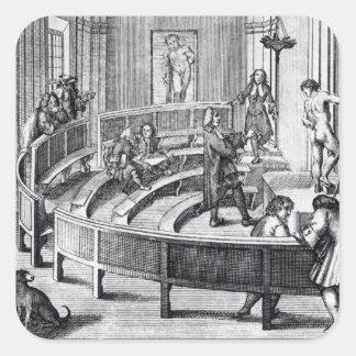 Clase de dibujo de la vida, 1739 pegatina cuadrada