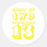 Clase de dos mil 13 - amarillo etiquetas redondas