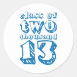 Clase de dos mil 13 - azul etiqueta redonda