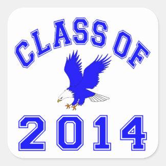 Clase de Eagle 2014 - azul 2 Pegatina Cuadradas Personalizada