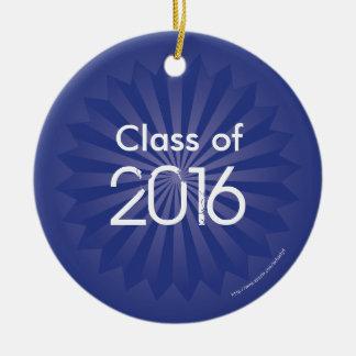 Clase de explosión de 2016 azules adorno navideño redondo de cerámica