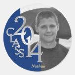 Clase de foto del graduado del azul real 2014 etiquetas
